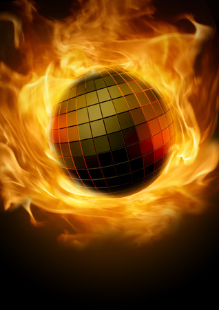 Photo for Disco inferno  Blazing fiery disco ball concept - Royalty Free Image