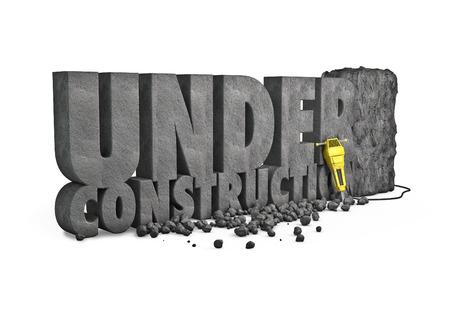 Photo pour Under construction stone  3D render of under construction text cut from stone block with jackhammer - image libre de droit