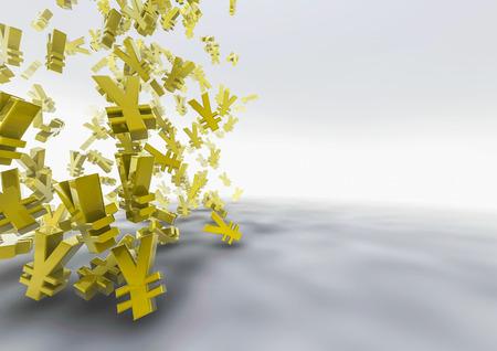 Tumbling yen 3D render of yen symbols