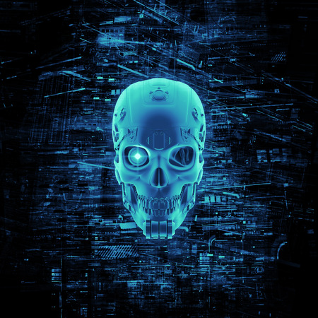 Photo pour Virtual reality skull  3D render of cyborg head surrounded by virtual data - image libre de droit