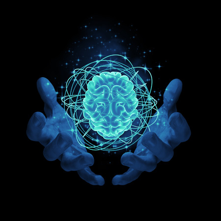 Foto de Magic on the brain / 3D render of glowing atomic brain - Imagen libre de derechos