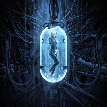 Photo pour The woman clone pod  of science fiction scene showing human female figure in inside complex futuristic  incubator cloning machinery - image libre de droit