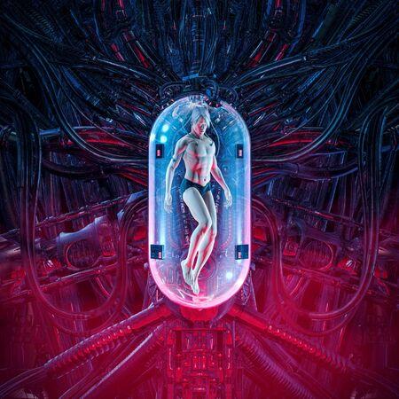 Photo pour The man clone pod of science fiction scene showing human male figure inside complex futuristic  incubator cloning machinery - image libre de droit
