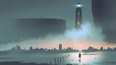 Photo pour Night scenery of the big lighthouse in futuristic world - image libre de droit