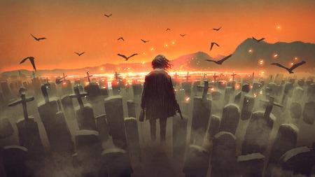 Foto de Drunk man with a gun walking in a graveyard - Imagen libre de derechos