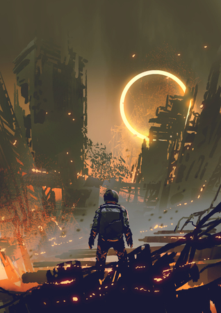 Photo pour Astronaut standing in a burnt city and looking at a yellow glowing ring in the dark sky - image libre de droit