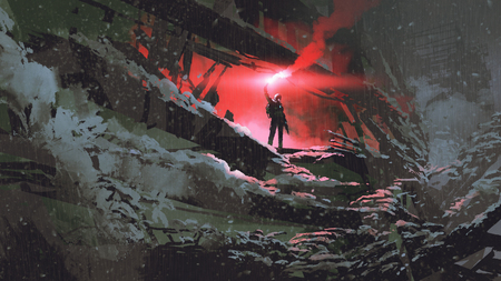 Photo pour Apocalypse world concept showing the man holding a red smoke flare in the destroyed building - image libre de droit