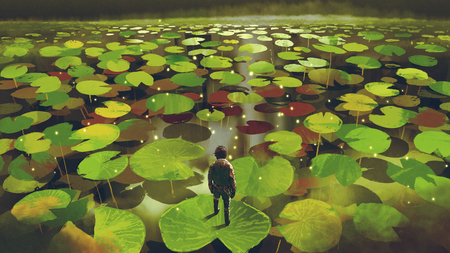 Photo pour Young man on giant lily pad leaf in fantasy swamp, digital art style - image libre de droit
