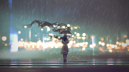 Foto de Mysterious woman with umbrella at rainy night, digital art style - Imagen libre de derechos