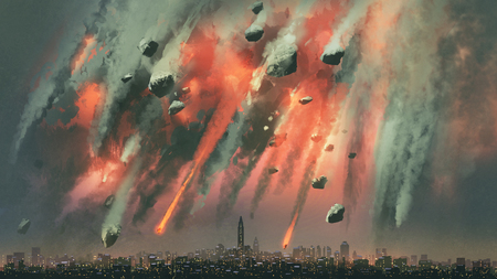 Photo pour Sci-fi scene of the meteorites explodes in the sky above the city - image libre de droit