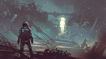 Photo pour Sci-fi scene of the futuristic man facing the glowing girl in abandoned planet, digital art style - image libre de droit