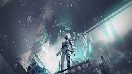 Photo pour The female robot is being repaired in an abandoned factory, digital art style - image libre de droit
