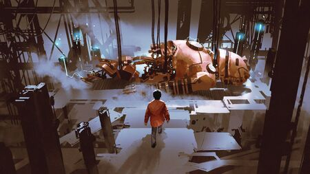 Photo pour Boy walking to the broken giant robot which is being repaired in old factory - image libre de droit