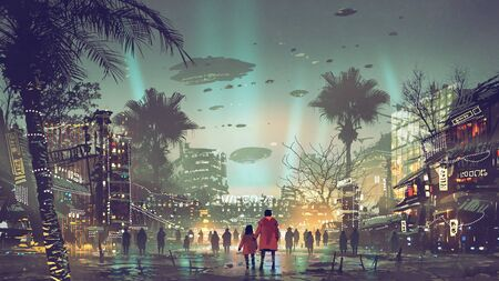 Photo pour Father and daughter looking at the futuristic city with colorful light - image libre de droit