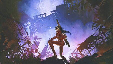 Photo pour Futuristic soldier woman with gun standing against the ruined city - image libre de droit