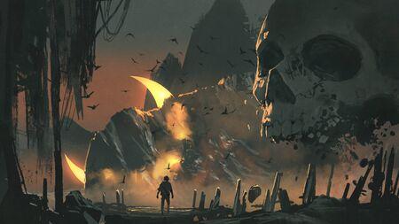 Foto de A man walks into a mysterious land with a giant skull in front of the entrance - Imagen libre de derechos