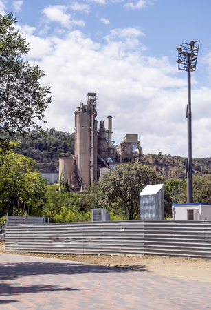 Photo for Cement factory in the mountains of Barcelona, Spain on a sunny day - Royalty Free Image