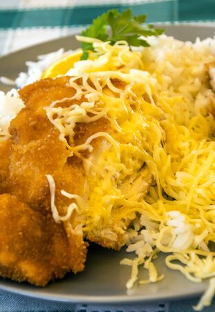 Foto de Breaded chicken fillets with white rice served on a plate - Imagen libre de derechos