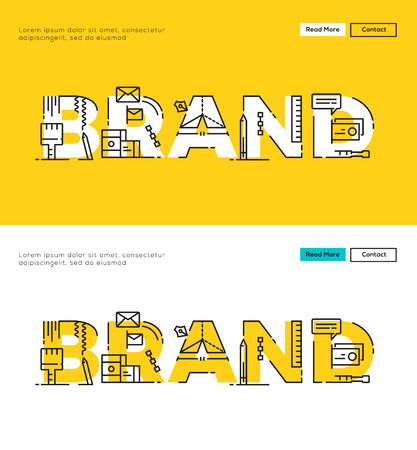 Illustration pour Modern Flat line design concept of Branding and Brand Design. Flat line design for Website Element ,Web Template , Web Banner , Book Cover and Corporate documents. - image libre de droit