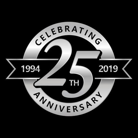 Illustration pour Celebrating 25th Years Anniversary - image libre de droit