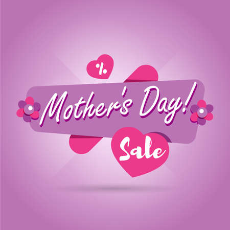 Mothers Day sale banner. Vector flower illustration