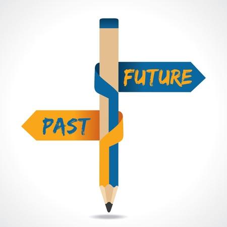 Illustration pour PAST   FUTURE arrow in opposite of pencil - image libre de droit
