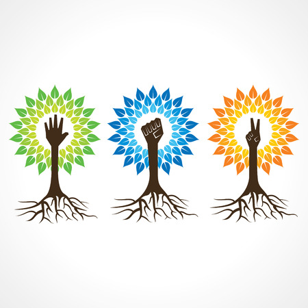 Illustration pour Unity,victory and helping hand make tree - vector illustration - image libre de droit