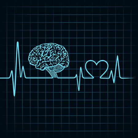 Ilustración de Medical technology concept, heartbeat make a brain - Imagen libre de derechos