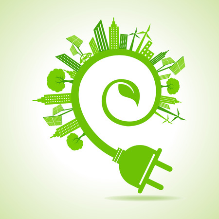 Ilustración de Ecology Concept - eco cityscape with leaf and electric plug - Imagen libre de derechos