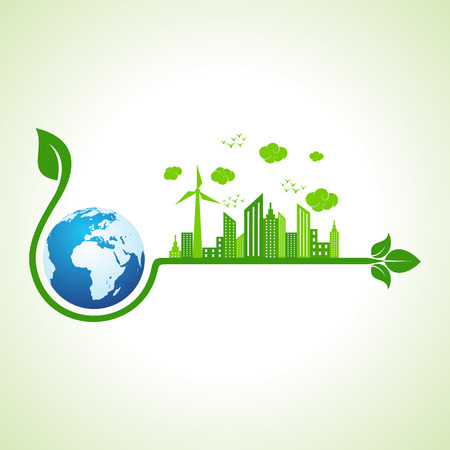 Ecology concept with earth icon  - vector illustration