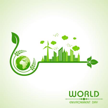 Ilustración de world environment day greeting design - Imagen libre de derechos