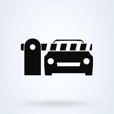 Illustration pour Car Security Barrier Gate. Simple vector modern icon design illustration. - image libre de droit