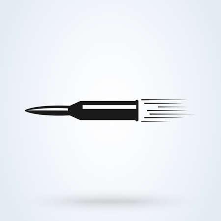 Ilustración de Flying bullet glyph icon. Speed. Vector Weapon shot - Imagen libre de derechos