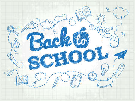 Illustrazione per Back to school poster with doodles - Immagini Royalty Free