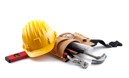 Photo for isolated hard hat with tools on white - Royalty Free Image
