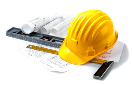 Photo pour isolated hard hat with tools on white - image libre de droit