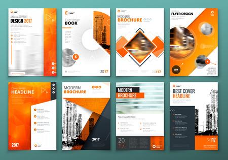 Ilustración de Cover design set. Orange Corporate business template for brochure, report, catalog, magazine, book, booklet. Layout with modern elements and abstract background. Creative vector concept - Imagen libre de derechos