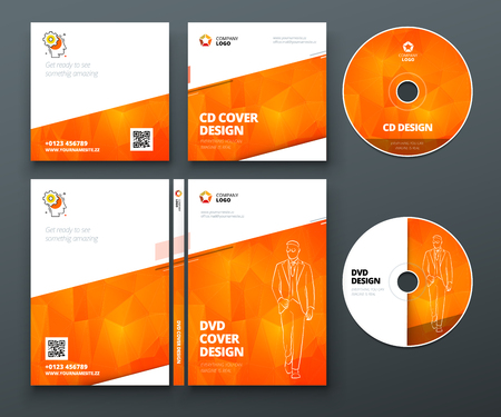 Illustration pour CD envelope, DVD case design. Orange Corporate business template for CD envelope and DVD case. Layout with modern triangle elements and abstract background. Creative vector concept - image libre de droit