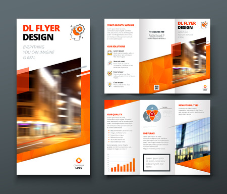 Illustration pour Tri fold brochure design. Orange DL Corporate business template for try fold brochure or flyer. Layout with modern elements and abstract background. Creative concept folded flyer or brochure. - image libre de droit
