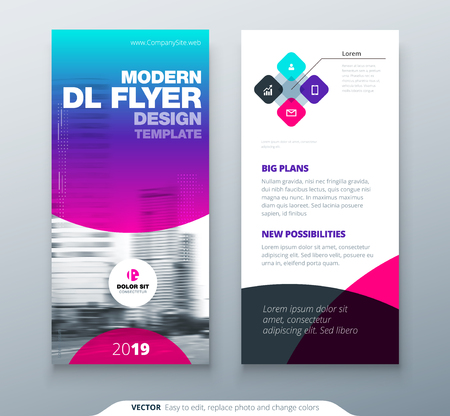 Illustration pour DL Flyer design. Purple business template for dl flyer. Layout with modern circle photo and abstract background. Creative flyer or brochure concept. - image libre de droit