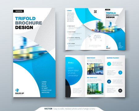 Illustration pour Tri fold brochure design with circle, corporate business template for tri fold flyer. Layout with modern photo and abstract circle background. Creative concept folded flyer or brochure. - image libre de droit
