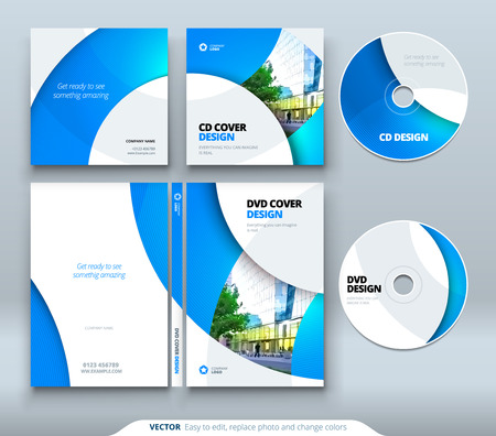 Illustration pour CD envelope, DVD case design. Business template for CD envelope and DVD disc case - image libre de droit