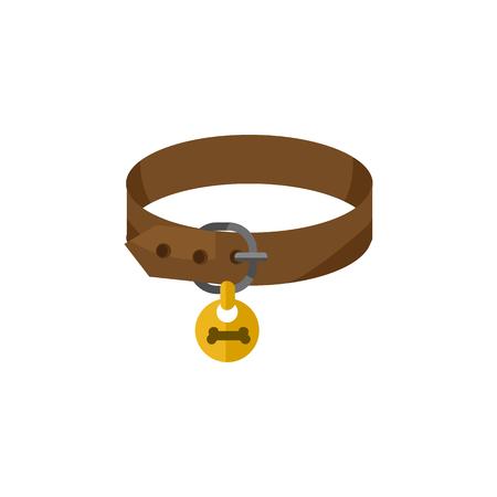 Ilustración de Isolated Puppy Collar Flat Icon. Hound Necklace Vector Element Can Be Used For Puppy, Dog, Collar Design Concept. - Imagen libre de derechos