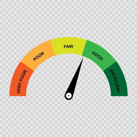 Illustration pour Credit score gauge, poor and good rating. Vector illustration. - image libre de droit