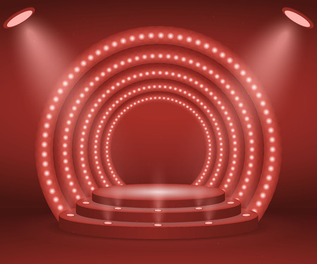 Illustration pour Stage with lights for awards ceremony. Illuminated Round Podium. Pedestal.  - image libre de droit