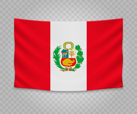 Illustration for Realistic hanging flag of Peru. Empty  fabric banner illustration design. - Royalty Free Image