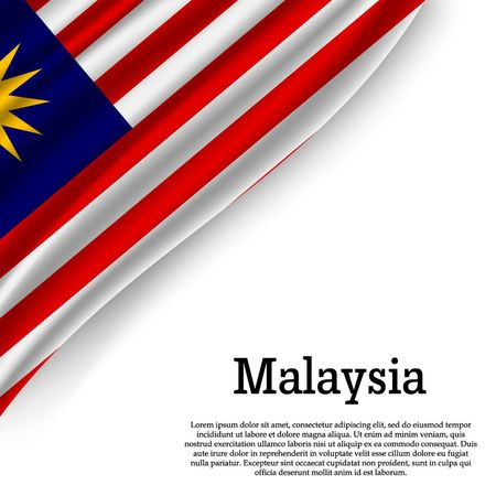 Illustration pour waving flag of Malaysia on white background. Template for independence day. vector illustration - image libre de droit