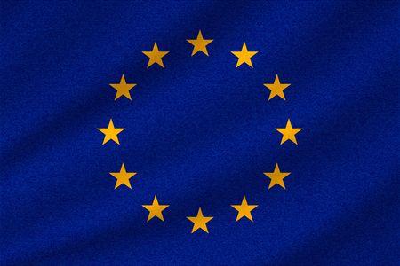Illustration pour national flag of European Union on wavy cotton fabric. Realistic vector illustration. - image libre de droit