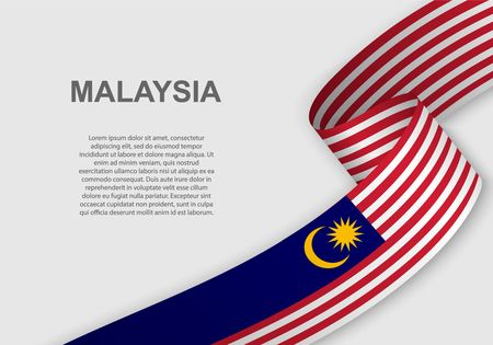 Illustration pour waving flag of Malaysia. Template for independence day. vector illustration - image libre de droit