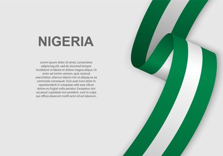 Illustration pour waving flag of Nigeria. Template for independence day. vector illustration - image libre de droit